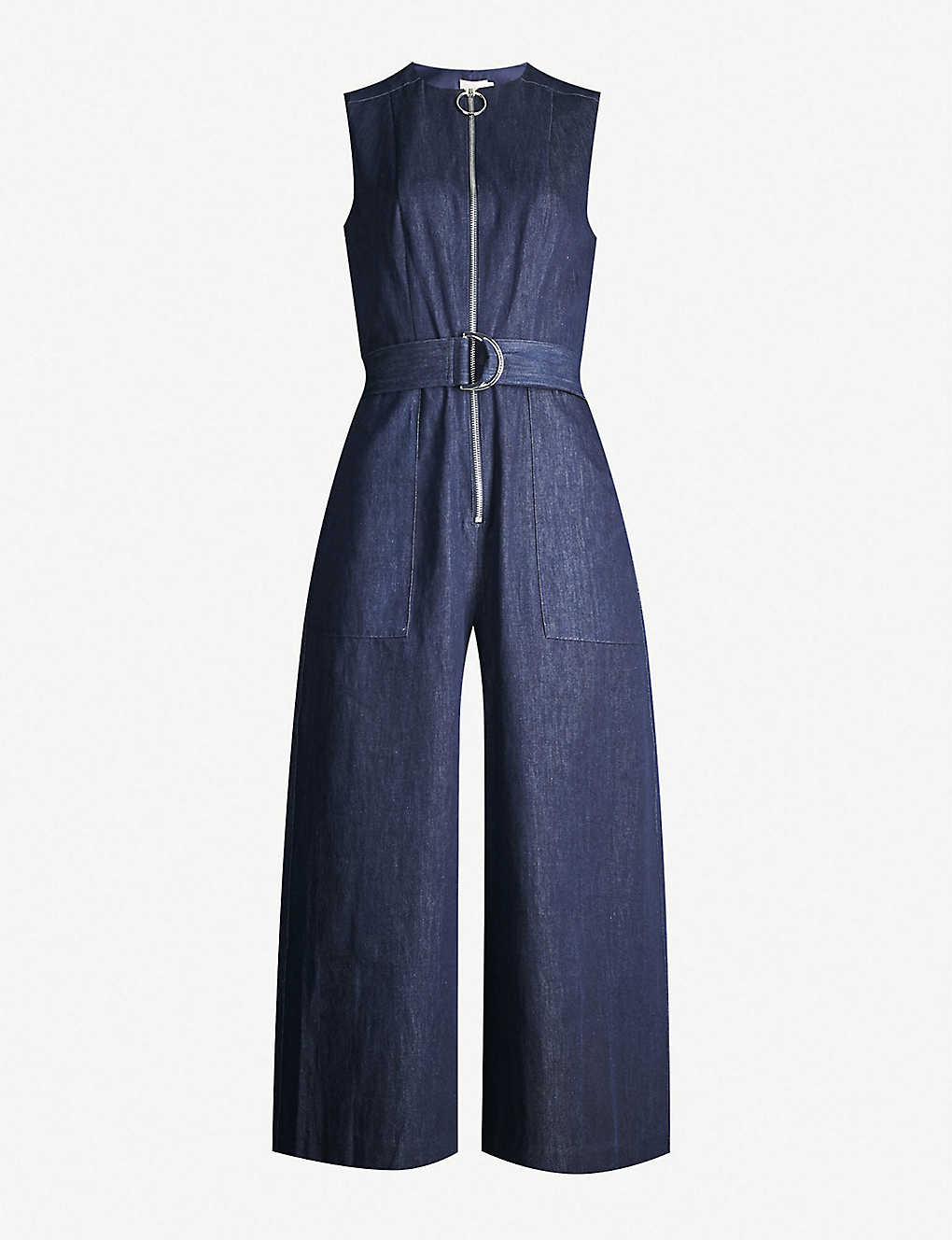 TED BAKER: Zip-front wide-leg denim jumpsuit