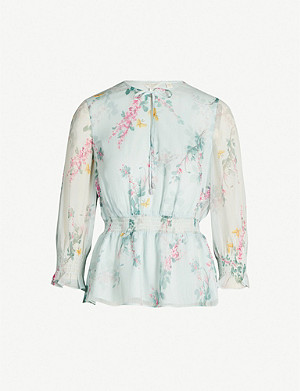 TED BAKER Sorbet floral-print long-sleeved chiffon top