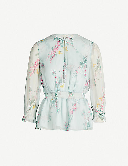 6956f15e7 TED BAKER Sorbet floral-print long-sleeved chiffon top