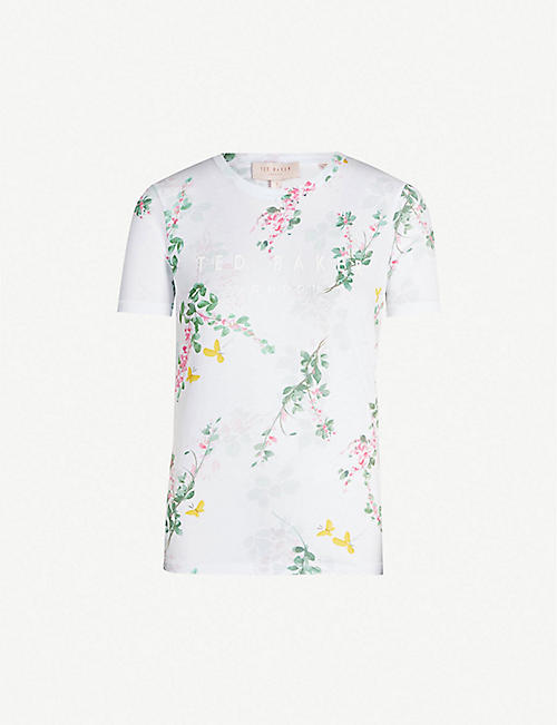 64836368d TED BAKER Sorbet floral-print cotton-jersey T-shirt
