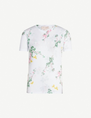 TED BAKER Sorbet floral-print cotton-jersey T-shirt