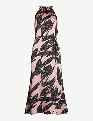 TED BAKER Leahla Sour Cherry-print halterneck crepe dress