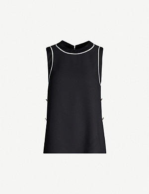 TED BAKER Buttoned split-side crepe top