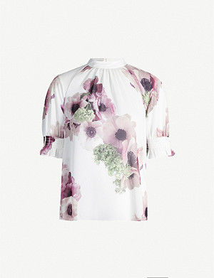 TED BAKER Neapolitan puff-sleeved chiffon top