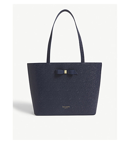Ted Baker Jjesica Bow Detail Pebbled Leather Tote In Dk-Blue