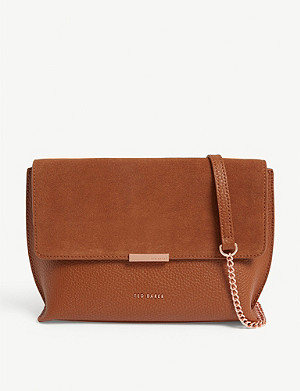 TED BAKER Lisa suede and leather cross-body bag