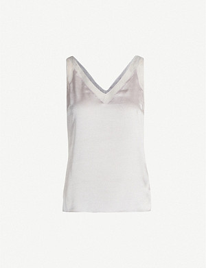 TED BAKER Lilyane V-neck hammered-satin top