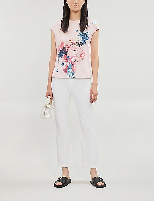 TED BAKER Raspberry Ripple floral-print crepe and jersey T-shirt