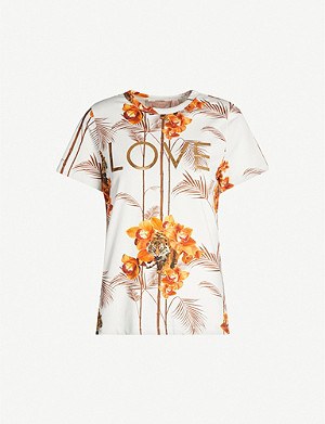 TED BAKER Tropical-print cotton-jersey T-shirt
