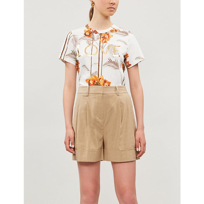 Ted Baker T-shirts TROPICAL-PRINT COTTON-JERSEY T-SHIRT