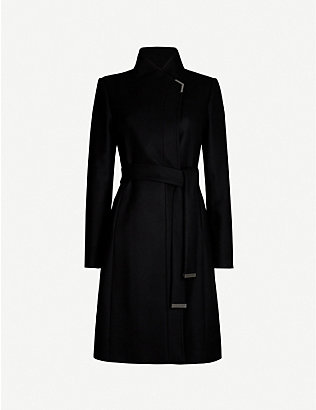 TED BAKER: Embellished-trim wool-blend wrap coat