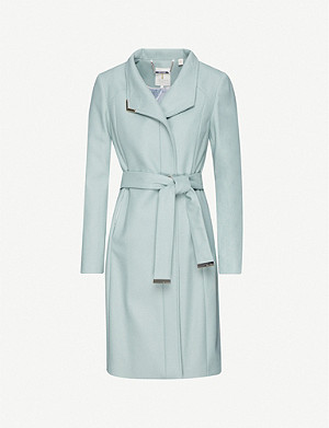 TED BAKER Embellished-trim wool-blend wrap coat