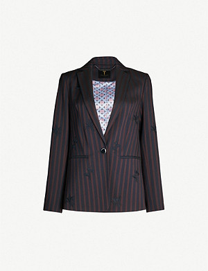 TED BAKER Floral-embroidered striped woven blazer