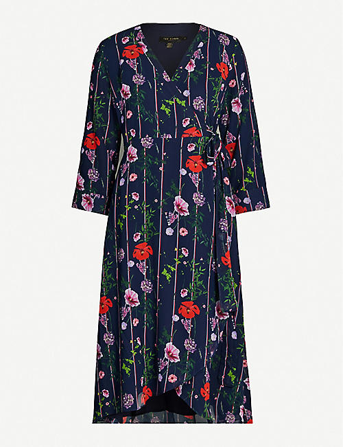 867046e5855ea TED BAKER Hedgerow floral-print chiffon wrap dress