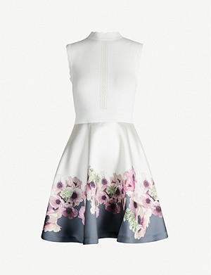 TED BAKER Neopolitan stretch-knit and satin skater dress