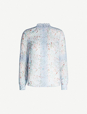 TED BAKER Lace-trimmed floral woven shirt