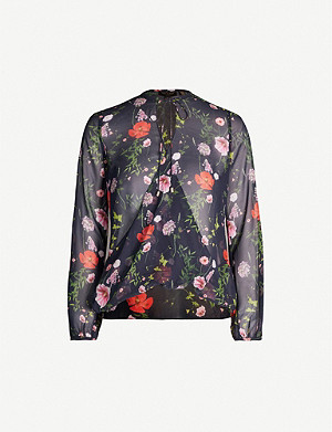 TED BAKER Hedgerow floral neck-tie woven top