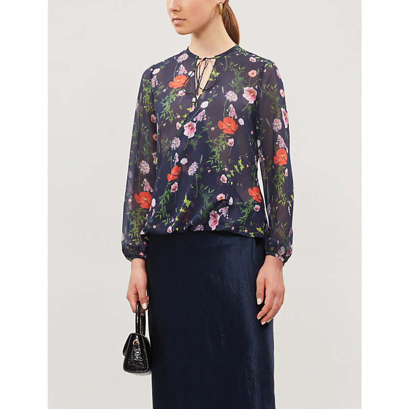 Ted Baker Ties HEDGEROW FLORAL NECK-TIE WOVEN TOP
