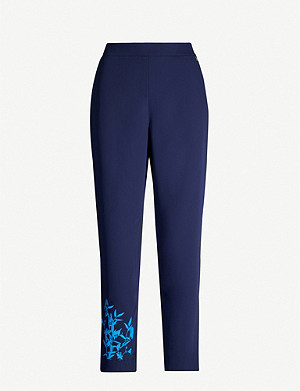 TED BAKER Floral-embroidered slim high-rise crepe trousers