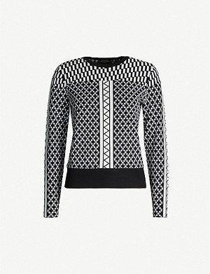 TED BAKER Graphic-pattern stretch-knit jumper