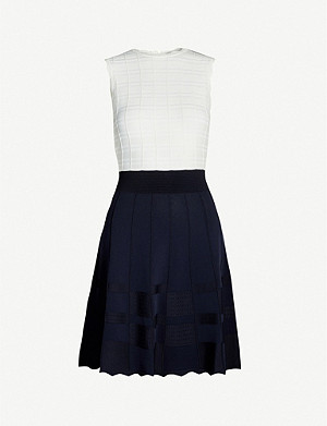TED BAKER Contrast-skirt geometric knitted dress