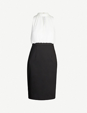 TED BAKER High-neck cut-out crepe and cady midi dress