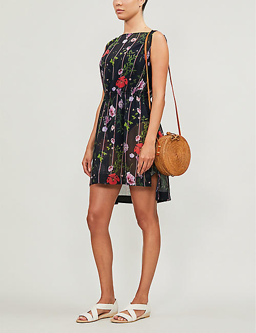 TED BAKER Mollii Hedgerow tie-waist chiffon beach cover-up