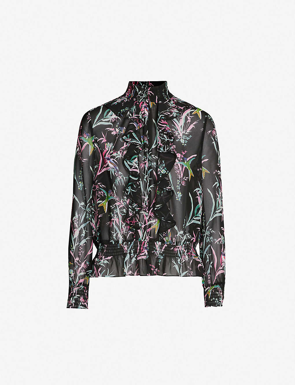 253a7ae5 TED BAKER - Calio fortune-print ruffled chiffon top | Selfridges.com