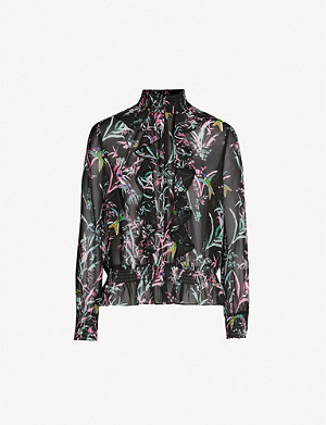 TED BAKER Calio fortune-print ruffled chiffon top