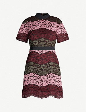 TED BAKER Jaseyy lace-panel mini dress
