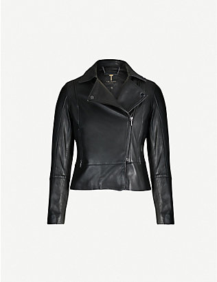 TED BAKER: Leather biker jacket