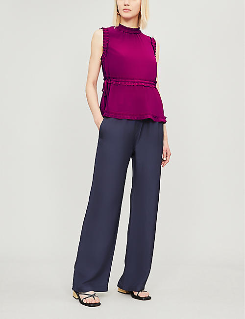 TED BAKER Brayla pleated crepe top
