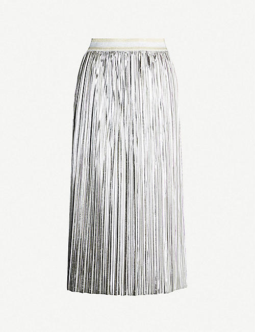 ebe583d5d9dd TED BAKER Ariiana metallic pleated crepe midi skirt
