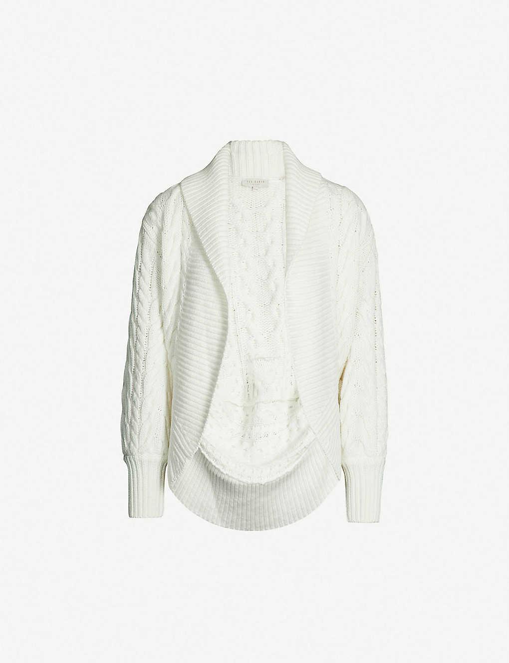 9128d9c92e8bae TED BAKER - Cable-knit shawl cardigan | Selfridges.com