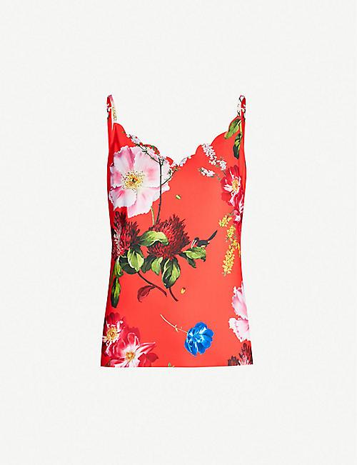 d103874e4e8b TED BAKER Selina Berry Sundae floral-print jersey strap top