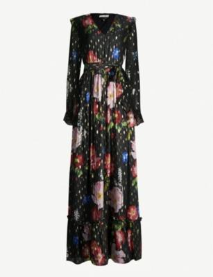 d9f3fe16dccf TED BAKER · Berry Sundae metallic-flecked floral-print chiffon maxi dress