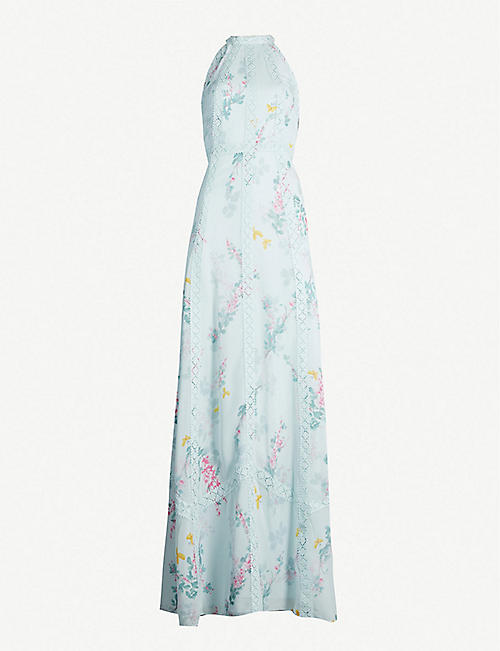 6d80e92d8 TED BAKER Floral-print and lace crepe maxi dress