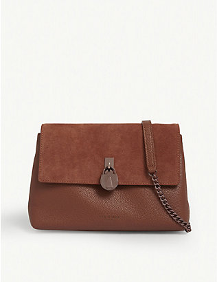 TED BAKER: Helena suede and leather cross-body bag