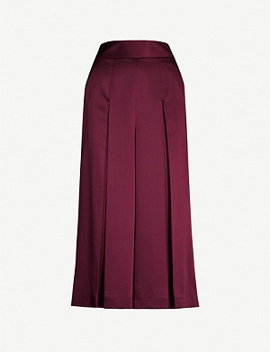 TED BAKER Pleated satin culottes