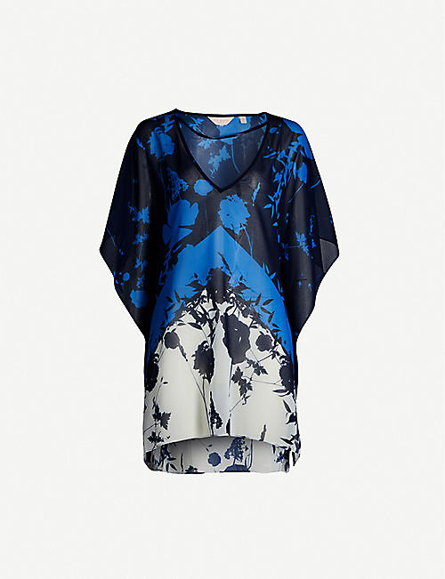 TED BAKER Lianna graphic-print chiffon and satin beach cover-up