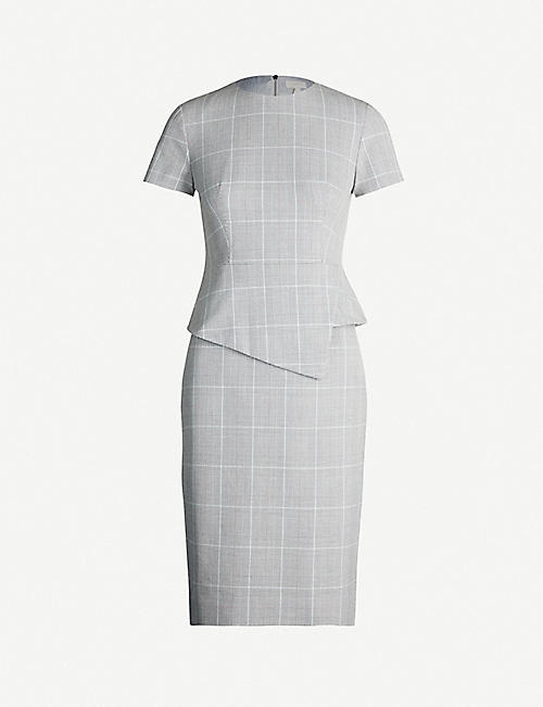 TED BAKER Peplum-waist checked woven dress