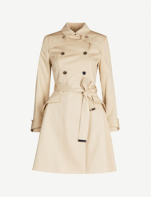 TED BAKER Luciey belted cotton-gabardine coat