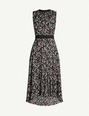 TED BAKER Hazel asymmetric-hem floral crepe dress
