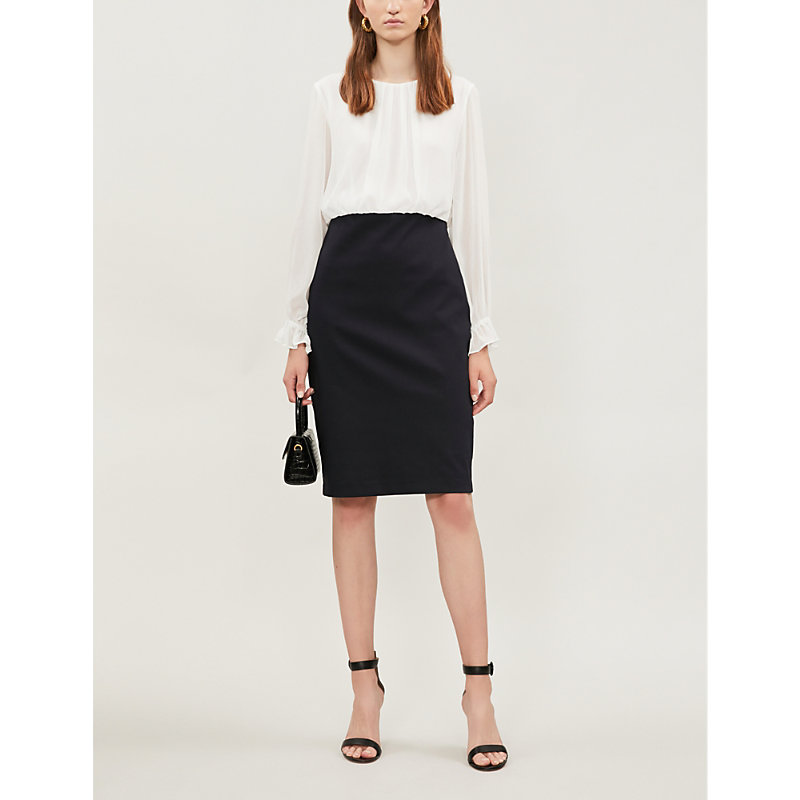 Ted Baker Dresses FLARED-CUFF CHIFFON AND CREPE DRESS