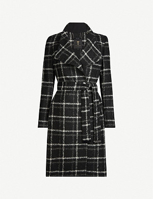 TED BAKER Check-print belted woven coat