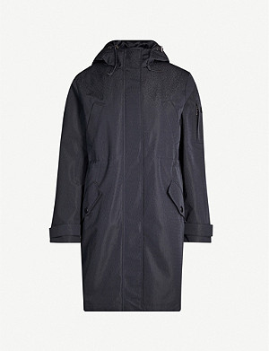TED BAKER Drawstring-hood asymmetric-hem shell jacket