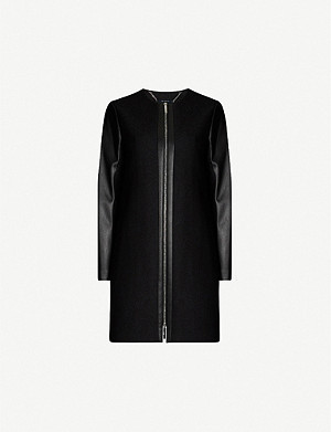 TED BAKER Faux-leather trim woven coat
