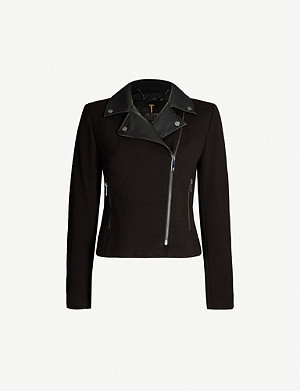 TED BAKER Faux-leather trim woven biker jacket
