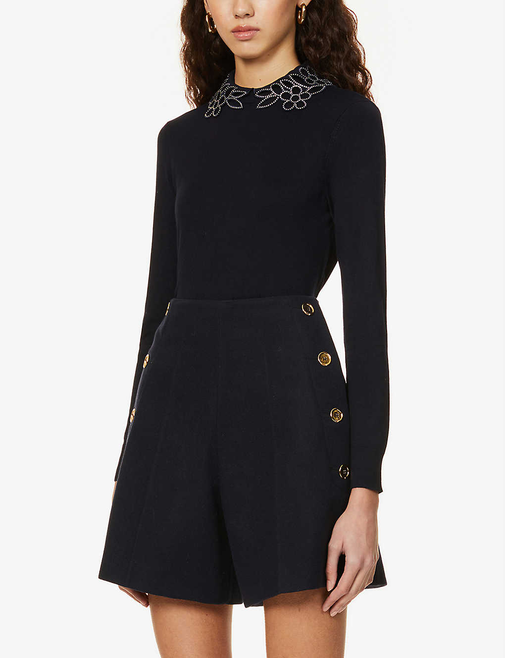 TED BAKER: Floral embellishment detail stretch-knit jumper