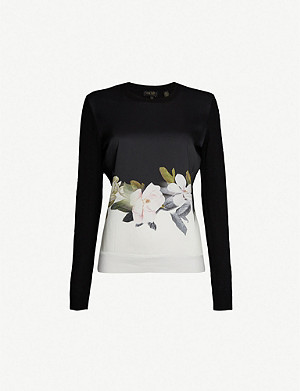 TED BAKER Bellae floral-print cotton-blend jumper